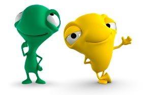 Mono verde y mono amarillo de Bci presentando promociones y concursos